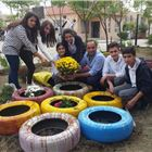 Students Paint Tires to Beautify School